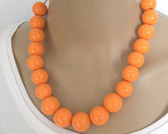 Orange Chunky Statement Necklace Bold and Bright Summer Necklace