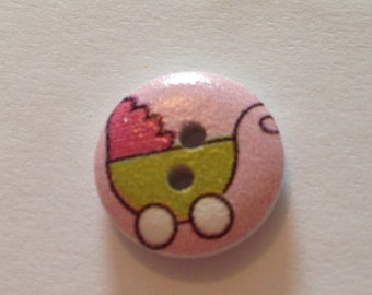 Pink Round Pram Picture Button, pack of 15, FREE UK POSTAGE