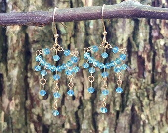 18K Champagne Aqua Swarovski Earrings