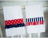 Ruffled Tea Towels, Americana, Red White and Blue, Patriotic, Summer, Stripes, Polka dots, Handmade