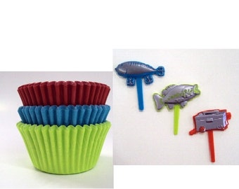 Fishing Cupcake Picks with 12 Assorted Color Baking Cups