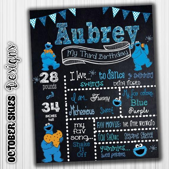 Cookie Monster Birthday Chalkboard Sesame Street