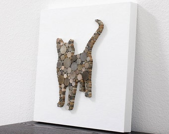 Handcrafted Wood Cat Decor, Modern Country Wall Decor, Rustic Cat Wall Art