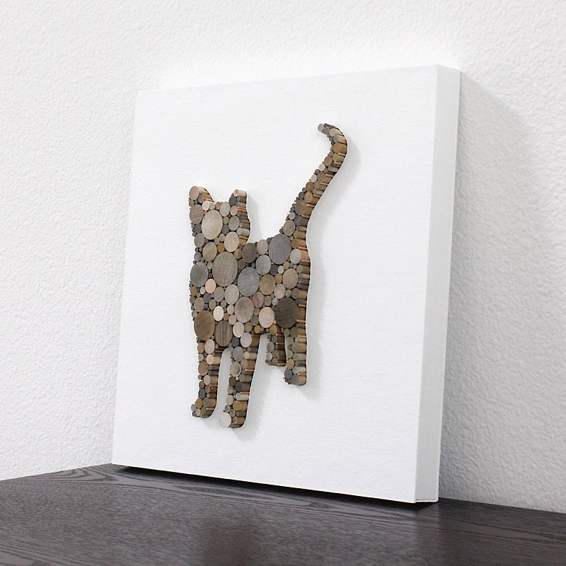 Wood Cat Decor Modern Country Wall Decor Rustic Cat Wood