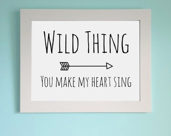 Wild Thing arrow monochrome Print poster wall art