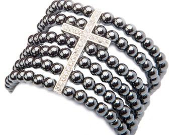 Hematite Crystal Cross Cuff Bracelet