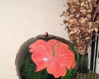 Large Stunning Vintage Papier-Mache Pot With Floral Detail