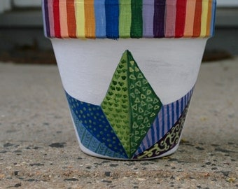 Rainbow Quilted Flower Pot (Hand Painted Flower Pot)