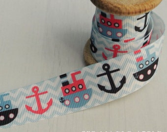 Boats and Anchors ribbon by the metre
