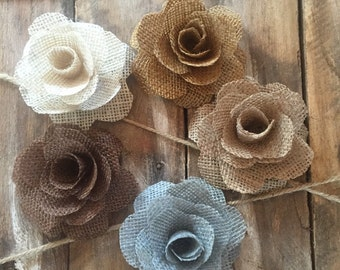 Burlap Flowers, Cake Decoration, Country Wedding Flower