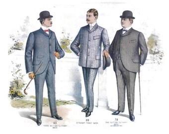 Victorian Clothing Mens Fashion Catalog, Vintage Art Deco Clothing Advertisment Page, Tradecard  Ephemera Scrapbook Destash Card Making RTS