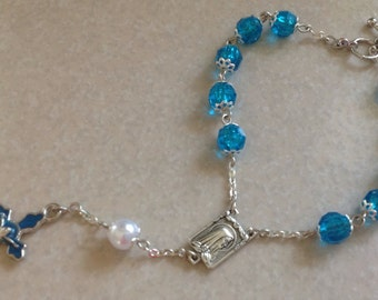 Turquoise and Silver Car Rosary