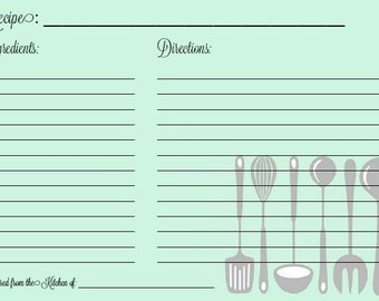 Mint Recipe Card -- Printable