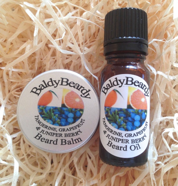 Tangerine, Grapefruit and Juniper Berry beard oil and balm kit. Men's ...