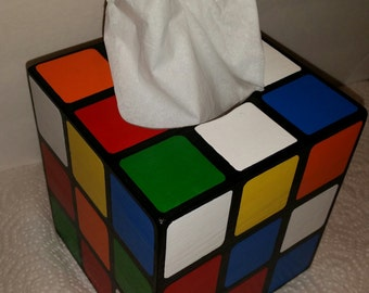 Replica Wooden Rubik's Cube Tissue Box Cover
