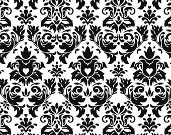 Knit Black and White Damask Fabric 1/2 yard