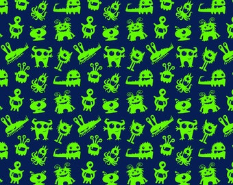 Knit New Green Monsters Fabric 1/2 yard