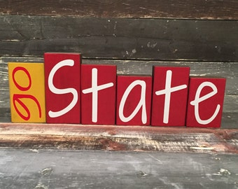 Home Decor Wood Blocks - Go State - {Iowa State, Cy, Cyclones, ISU, Iowa State University}