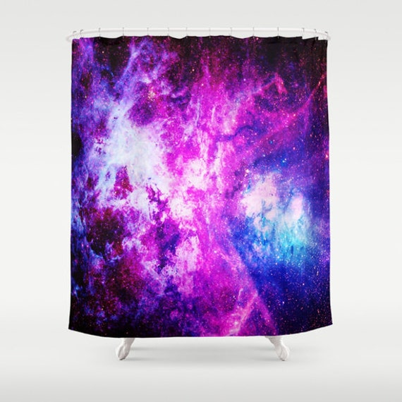 Shower curtain nebula shower curtain purple blue by for Light purple bathroom accessories
