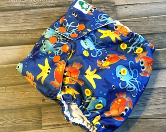 Sea Creatures One Size Cloth Pocket Diaper