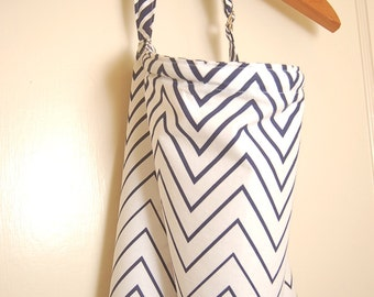 Nursing Cover with Boning/ Navy and White Chevron Nursing Cover/ Breastfeeding Cover/ Modern Nursing Cover/ Hooter Hider/ Baby Shower Gift/