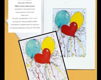 ATC ACEO PRINT of Original Watercolor Painting Frame Greeting Gift Card Congratulations Balloons Celebrate Any Occasion Collectible