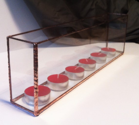 Long glass candle holder tenew home gift by augustglassdesigns for Long rectangular candle tray