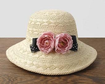 Fashion Straw hat Hand woven straw hat, sun hat, hat, bowknot flower beach hat, ms summer hat, elegant hat