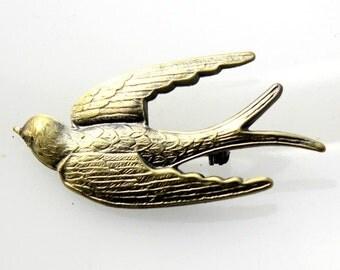 1pcs--Brooch, Swallow, Antique Bronze (B33-8)