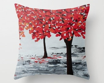 Red and Black Pillow Cover, Art Pillow, Red Tree Pillow, Red Pillow, Cushions, Decorative Throw Pillows, Accent Pillows, Sofa Pillows
