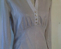 Beautiful vintage gothic blouse size uk 12, cream and brown stripe steampunk, cosplay, victoriana,