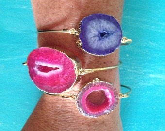 Purple and Pink Geode Bangles // 24k Gold Plated Brass // Boho Jewelry