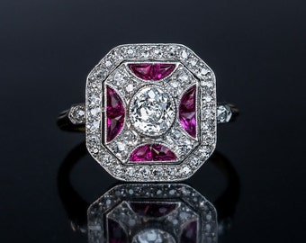 Superb Vintage Art Deco Ruby Diamond Platinum Ring