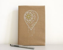 Embroidered mandala fabric journal / Boho Chic Planner / A5 cover / Travel journal / Romantic cover / Cute diary / OOAK journal