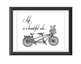Beautiful Ride Poster, Life Typography Quote, Bicycle Art, Bicycle Print, Life Art Print, Beautiful Ride, Life Art Quote, Home Decor, Art