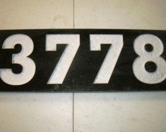 Black Granite address plaque custom carved 12 x 4""