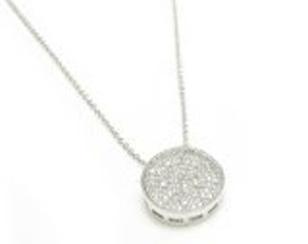 Micro Pave Necklace, Silver Pave Necklace, Crystal Disc Necklace, Sterling Silver Pave Necklace
