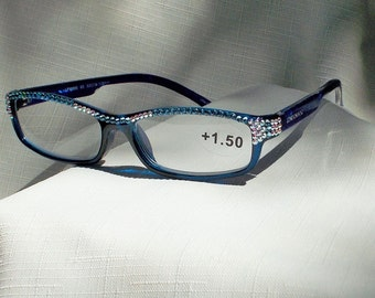 Swarovski Crystal Reading Glasses, 1.50 Strength, Sparkling AB and Sapphire Crystals on Deep Blue Frames