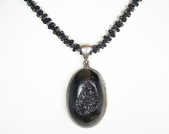 Black Drusy Quartz Beaded Gemstone Necklace
