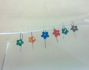 enamel on silver flower earrings