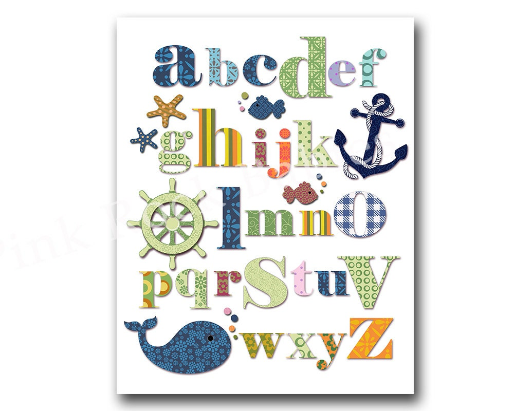 Nautical nursery alphabet poster abc print ocean wall decor zoom amipublicfo Images