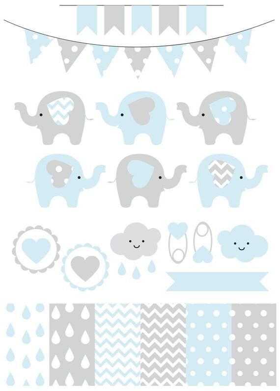 Vector Elephant Baby Shower ~ Premium baby shower vector clipart elephants blue