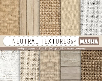 "Neutral digital paper: ""NEUTRAL TEXTURES"" with burlap digital paper, linen, wood in earth tones, neutral colors for scrapbooking, invites"