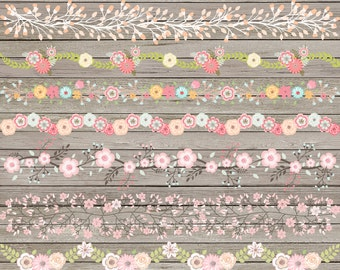"Floral border clipart: ""FLORAL BORDERS"" with flower border clipart, border clipart, digital flower border, flower clipart for scrapbooking"