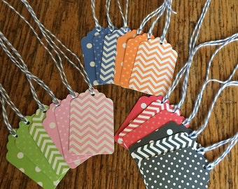 Gift tags, colorful paper gift tags, polka dot gift tags, wedding favor tags, party favor tags, chevron gift tags