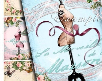 ROMANTIC atc aceo size - shabby chic digital collage sheet - mannequin paris rench style jewelry card holder paper goods - ac202