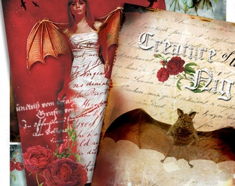 ROMANTIC VAMPIRES printable aceo size -paper goods jewelry holder gothic Digital collage sheet - instant download background - ac203