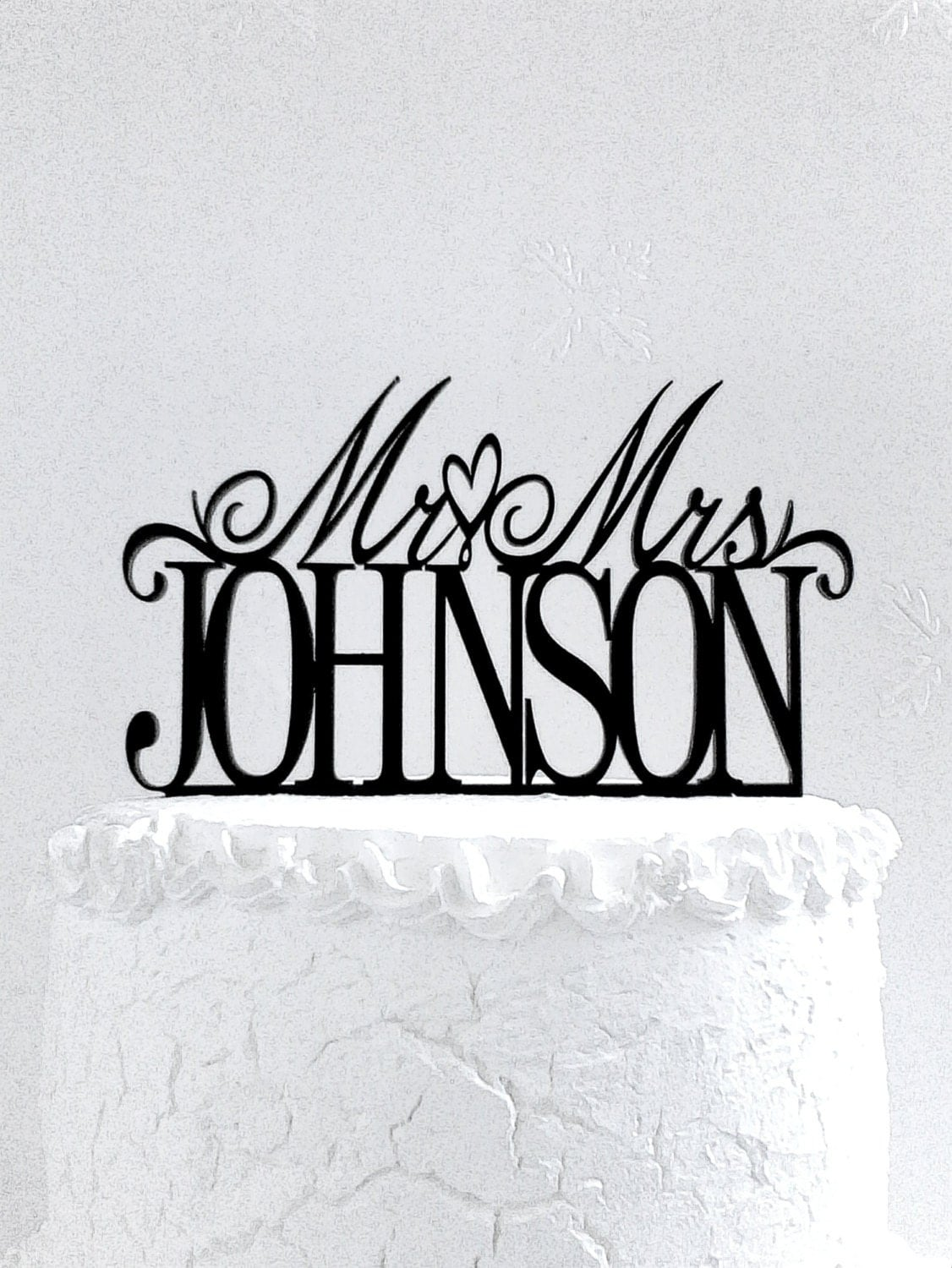 Mr And Mrs Johnson Wedding Cake Topper Personalized With Last