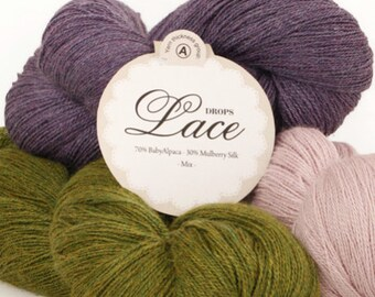 Garnstudio DROPS Design 2ply Lace yarn 100g 70% baby alpaca 30 mulberry silk knitting wool - LOWEST Price Drops Retailer