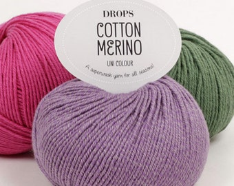 Garnstudio DROPS Cotton Merino DK Knitting yarn 50% Extra Fine Merino wool 50 Egyptian Cotton 50g